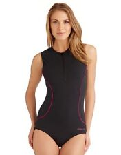 "NEW Speedo Xylia Hydrasuit Swimsuit UK/US 32"" High Neck Zip Back Badeanzug D36"