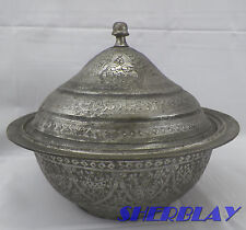 ANTIQUE OTTOMAN TURKISH ISLAMIC ENGRAVED HAMMERED METAL COVERED BOWL Touch Mark