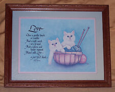 "Cute framed ""Love"" print/picture of white kittens and yarn - EUC - LQQK"