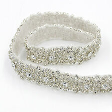 1yd Crystal Rhinestone Beaded Trim Sewing Wedding Dress Sash Applique Silver DIY