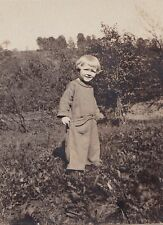Vintage Antique Photograph Adorable Baby Wearing Jumpsuit Outfit in Field