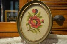 Antique Vintage Wool Needlepoint Red Rose PICTURE FRAME Oval Chic Fancy
