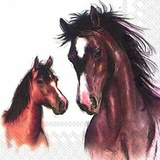 Amy and Lucy Horse and Foal Bay paper table 33cm square lunch napkins 20 in pack