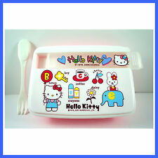 Food Storage Container Lunch Box Case With Folk Spoon For Hello Kitty + Charm