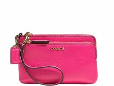 GENUINE COACH LEATHER DOUBLE ZIP WRISTLET LI/PINK RUBY 51420 BRAND NEW