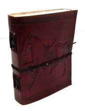 Firu Leather Bound Journal - Horse Handmade Paper Engraved Blank Leather Diary