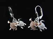 925 SILVER ROSE GOLD COUPLE HAWAIIAN HONU TURTLE DANGLING LEVERBACK EARRINGS