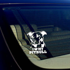 I LOVE MY PITBULL Decal Sticker Car Window Bumper Wall I Love My Rescue Dog 4""