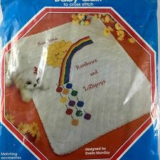 "Rainbow Baby Quilt Vtg Stamped Cross Stitch Kit Modern Heirlooms 30 x 40"" #300"