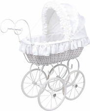 Doll pram Rattan wicker Ruffles with Linen Nostalgie ca. 75 x 35 x 83 cm new