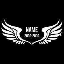 """Angel Wings """"Name and Date"""" Vinyl Decal Car Truck Window Bumper Sticker"""