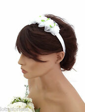White Satin Ribbon Headband Hair Band Chiffon Flower Bridesmaid Holy Communion