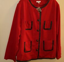 NEW JOAN RIVERS NIT JACKET WITH FAUX LEATHER TRIM 3X