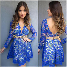 2016 Sexy Women Casual Cocktail Party Evening Long Sleeve Short Mini Lace Dress