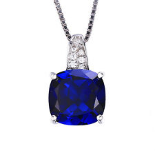 JewelryPalace Sapphire Pendent Necklace Chain Solid 925 Sterling Silver Jewelry
