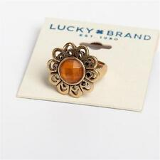 New Lucky Brand Vintage Style Gold Amber Flower Ring Size 7