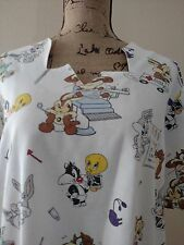 Looney Tunes Scrub Top Baby Wile E Coyote Taz Bugs Roadrunner Sylvester L-XL
