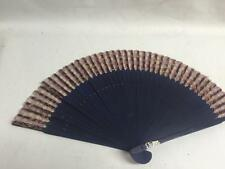 Dark Blue Wood Chinese Fabric Wedding Hand FAN