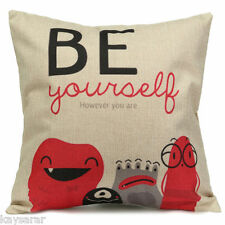 BE YOURSELF Cotton-Linen New CUSHION COVER, Natural Classic Retro Case UK Sale