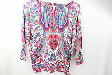 Chico's Womens Top Sz 1 Medium Stretch Knit Pink Blue 3/4 sleeves rayon Casual