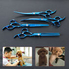 "4PCS Blue 7"" Pro. Plated Sharp Edge PET DOG Grooming Hair Scissors Shears Kits"