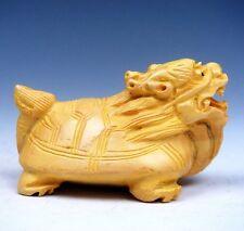 Boxwood Hand Carved Netsuke Sculpture Miniature Furious Dragon Turtle #02271701