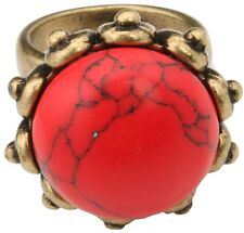 Zest Large Jasper Stone Ring Set in an Antique Golden Surround Red Medium