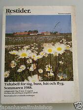 SWEDEN RESTIDER Train Bus Boat Airline Timetable Amtliches Kursbuch Horaire 1988