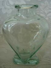 Collectible Lt.Sage Green Heart Shaped Pressed Glass Bottle - Made in Spain