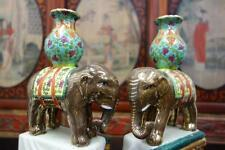 Pair of Vintage Porcelain Hand Glazed Lucky Elephant Statue Figurine Candle Hold