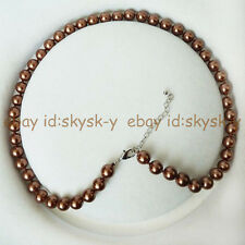 BEAUTIFUL AAA++ COFFEE 8MM AKOYA BROWN SHELL PEARL ROUND BEADS NECKLACES 18""