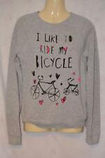 CUTE LIGHT GREY TOPSHOP I LIKE TO RIDE MY BICYCLE SWEATER JUMPER UK 8