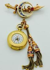 WOW! One of a kind antique Ottoman 14k gold&enamel Yataghan brooch&watch.UNIQUE!