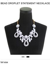 J.Crew White & Gold Victorian Style Beas Droplet Statement Necklace
