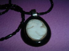 ANTIQUE C1880 WHITBY JET CARVED SHELL CAMEO PENDANT ON FRENCH JET NECKLACE 23ins