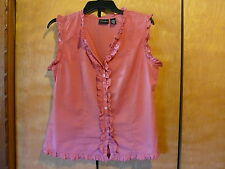 Juniors Old College Inn Sleeveless Blouse Size XL Coral 100% Cotton
