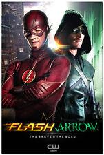 The Flash vs Arrow TV Series Art Silk Poster 24x36  Oliver Queen Barry Allen 02