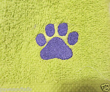 DOG CAT PAW PRINT WASH CLOTH Pet towel paw embroidery - TOO CUTE! lime green