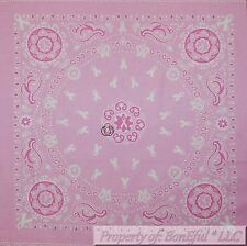 BonEful Fabric Cotton Quilt Panel Block Square Pink White Breast Cancer Bandana