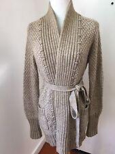 BCBG MAX AZRIA Women's Tan Alpaca Wool Knit Cardigan Sweater Long Sz XS EUC