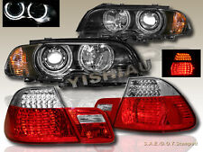 2000-2003 BMW E46 2DR HALO HEADLIGHTS W/ CORNER LIGHT BLACK + LED TAIL LIGHT RED