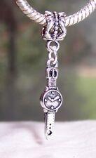 Wrist Watch Time Clock Wristwatch Dangle Bead for Silver European Charm Bracelet