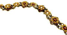 "Michal Negrin NWT  Floral Swarovski Crystal Bracelet 7""-Brown (Lt Colorado)"