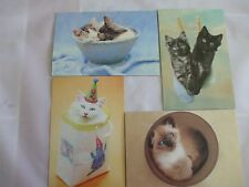 4 different cat cards, tree free greetings, matching envelopes 4 occasions