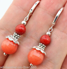 Orange Faceted Jade W. Red Coral Genstone Silver Leverback Earrings