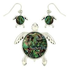 Silver and Faux Abalone Turtle Pendant and Earring Set