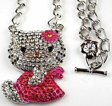 Hello Kitty Necklace Pink Bow Dress Swarovski Crystal Fashion Jewelry