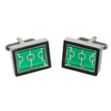 Silver & Green Football Pitch Cufflinks With Gift Pouch Foot Ball Player New