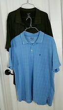 Van Heusen Izod Shirt Lot Mens Blue Paid Brown Stripes Polo Golf Tops Set 2 XXL