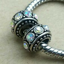 2P Clear Rainbow Crystal CZ Rhinestone European Spacer Charm Beads fit Bracelet